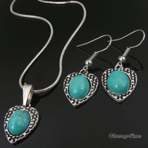 Women Fashion Love Heart Charm Tibet Silver Turquoise Necklace Earrings HTTP | eBay