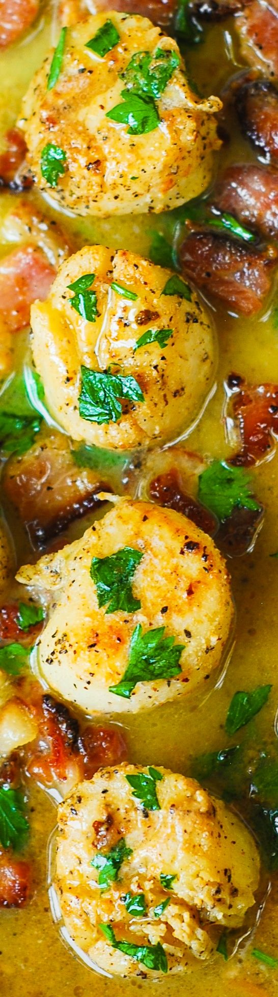 Seared Scallops with Bacon in Lemon Butter Sauce – this tastes just ...
