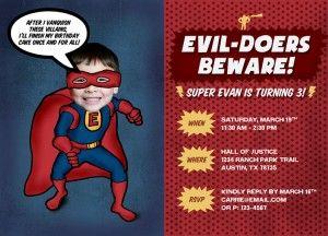 invites for super hero party