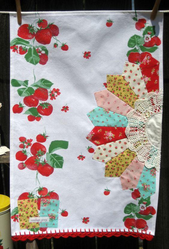 sweet summer strawberry-vintagey tea towel.