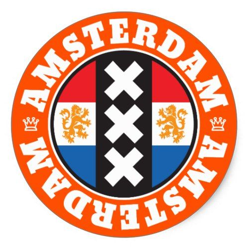 Amsterdam Dutch Flag And City Crosses Symbol Classic Round Sticker