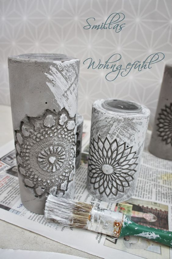Diy concrete candle holder kerzenst nder aus zement for Ton ideen