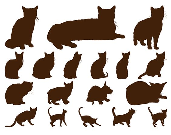 18 Cats Silhouettes Graphics