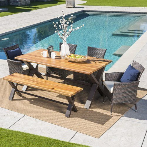 Arbus Outdoor 6 Piece Dining Set With Cushions Reviews Birch Lane Patio Dining Set Outdoor Dining Set Dining Set With Bench