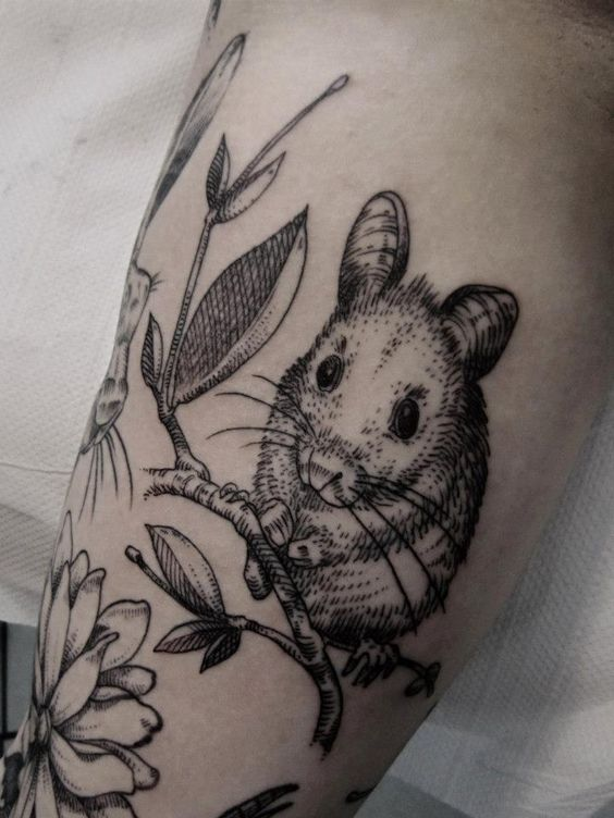 flowers mouse tattoo. Black Bedroom Furniture Sets. Home Design Ideas