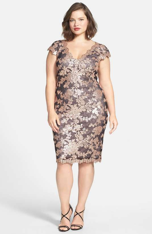 Love the Tadashi Shoji V-Neck Sequin Lace Dress (Plus Size) on Wantering.