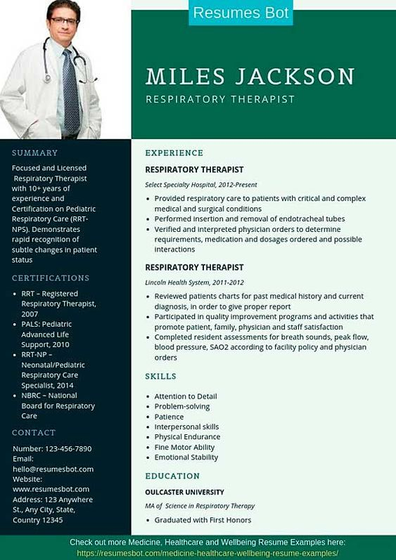 Respiratory Therapist Resume Samples Templates Pdf Word 2021 Respiratory Therapist Resumes Bot Medical Resume Medical Resume Template Respiratory Therapist