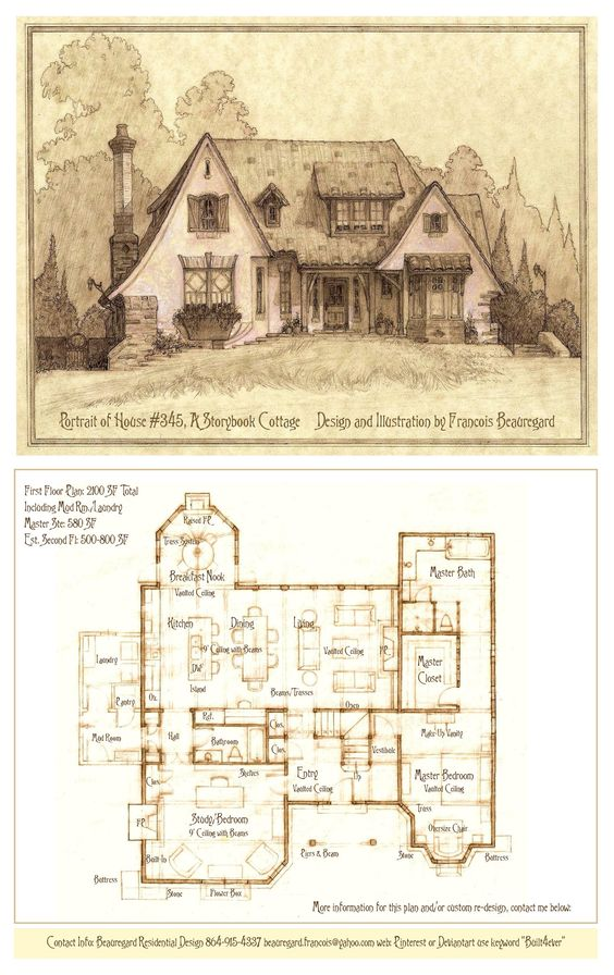 Portrait plan of house 345c a storybook cottage by Storybook cottages floor plans