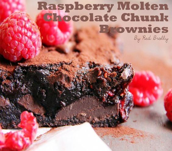 Raspberry Molten Chocolate Chunk Brownies