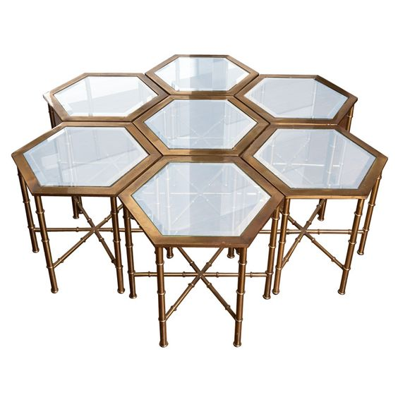 Charming Mastercraft Furniture For Sale #6: View This Item And Discover Similar Side Tables For Sale At - Set Of Seven Faux Bamboo Brass Hexagonal Tables By MASTERCRAFT. Can Be Used As Side Tables Or ...