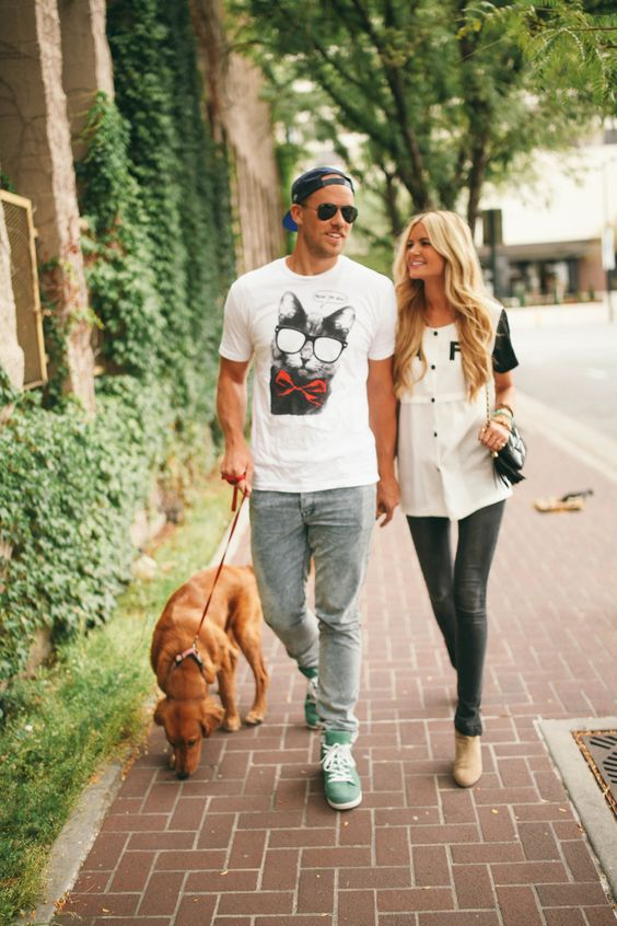 Just a cute couple...walking their dog.