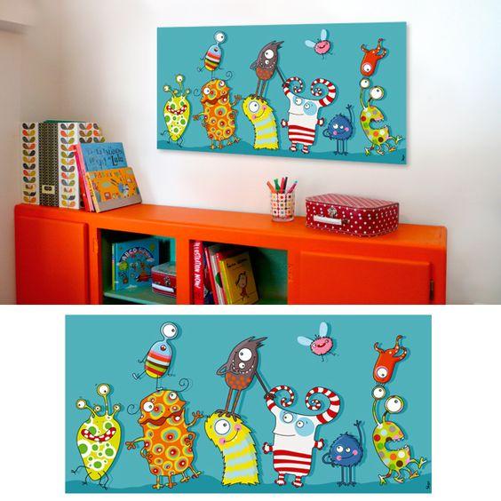 tableau rigolo monstres en folie pour chambre d 39 enfant et b b illustration pinterest. Black Bedroom Furniture Sets. Home Design Ideas