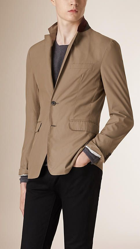 Burberry Mink Grey Slim Fit Cotton Tailored Jacket - A slim fit tailored jacket crafted from lightweight cotton. The design features notch lapels, a contrast colour undercollar, welt and flap pockets. Discover men's tailoring at Burberry.com