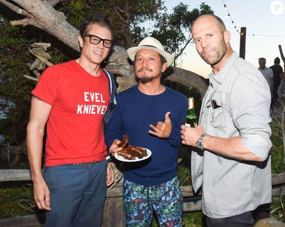 Johnny Knoxville, Takuji Masuda, Jason Statham - Kelly Slater, John Moore et leurs amis fêtent le lancement de Outerknown à la Gesner Beach House de Malibu, Los Angeles, le 29 août 2015