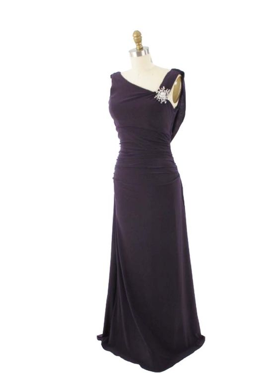Channel your inner Jean Harlow in the deep Purple Jersey Ruched Draped Back Gown. Timeless elegance, 30s flair. #vintageinspiredgowns