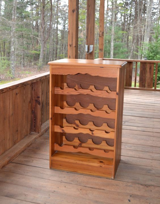 Vintage Wood Wine Rack Recycled Wood Upcycle by PanchosPorch, $75.00