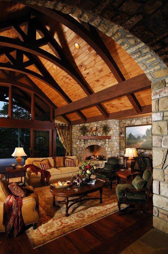 Those Ceiling Beams Gorgeous Rustic Living Room Make