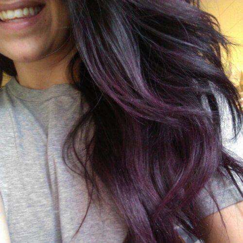 Black Purple Grey Low Highlights And Lowlights Subtle Purple Hair Hair Styles Purple Ombre Hair