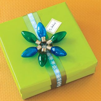 lime green and bright blue wrapping with plastic christmas bulbs