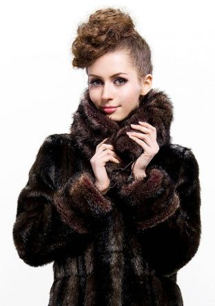 Tiffany Fashion/dark coffee faux beaver fur with faux beaver fur collar /long coat