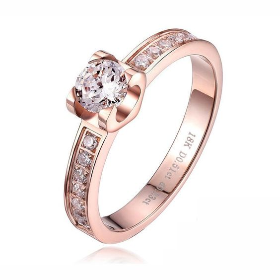 All Crystal Studded Strong Prong Fashion Ring With Solitaire Diamond - USD $25.95