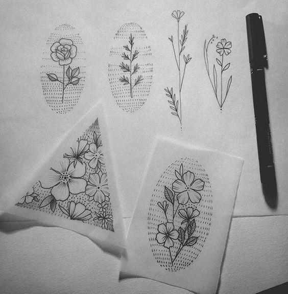 mais alguns florais disponíveis #tatts #tattoo #tatuagem #sketch #tattoosketch #florais #floral #botanical #tattoo2me