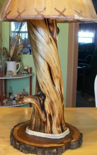 Beautiful! Twisted Cedar Rustic Table Lamp #Handmade | NatureWhispers - Woodworking on ArtFire - Countdown to #Christmas
