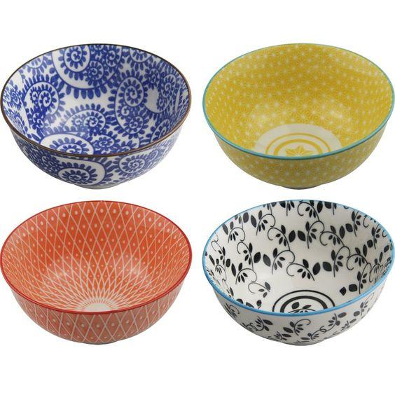 Conjunto de bowls de cerâmica com 4 peças 12cm color - 16054 - ShopFácil.com