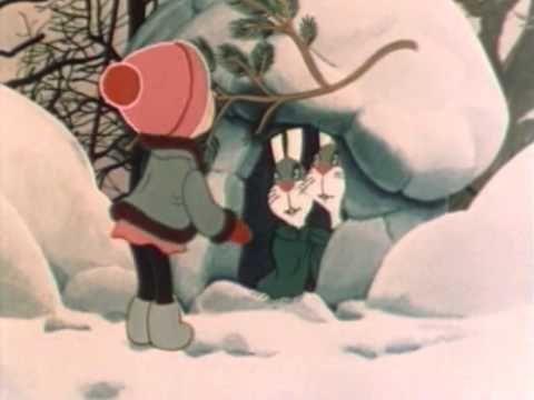 1985 зима Девочка и зайцы