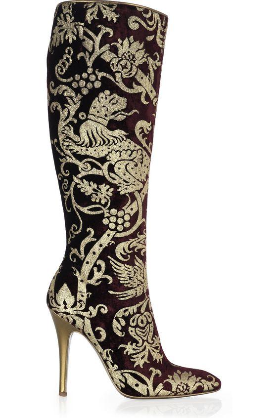 Roberto Cavalli Velvet brocade boots WOW