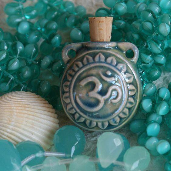 Om Amulet Porcelain Perfume Bottle  35mm high