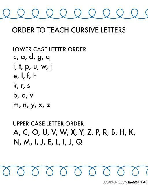 Printables Cursive Alphabetical Order cursive writing alphabet and easy order to teach letters how kids handwriting with correct letter order