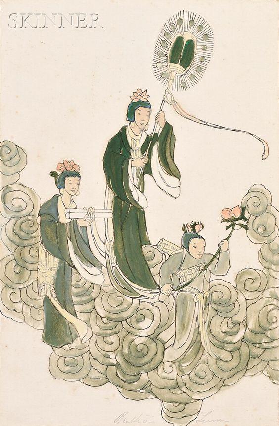 Bertha Lum (American, 1869-1954) Three Goddesses.