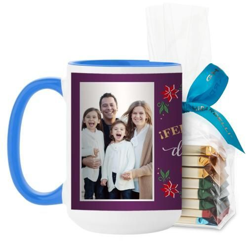 Felices Fiestas Mug, Light Blue, with Ghirardelli Assorted Squares, 15 oz, Purple