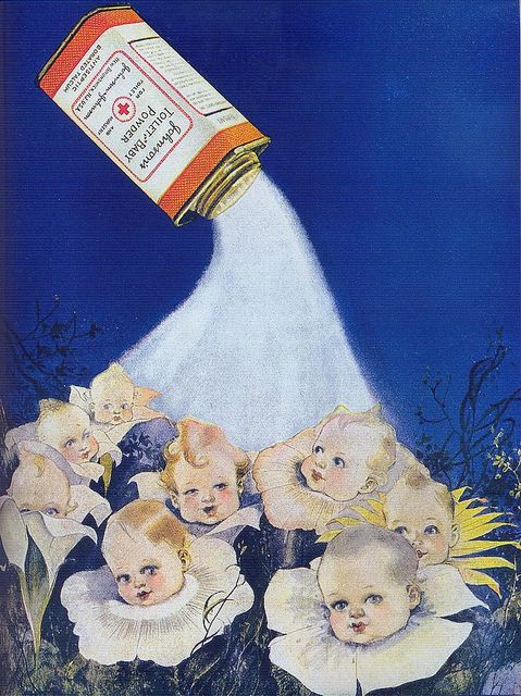 1921 Johnson's Baby Powder ad. Odd ad now we know not to let the babies to breathe it in.