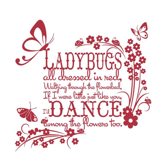 Vinyl Wall Decal Sticker Art - Ladybugs all Dressed in Red - Large - Childrens wall mural. $59.95, via Etsy.: