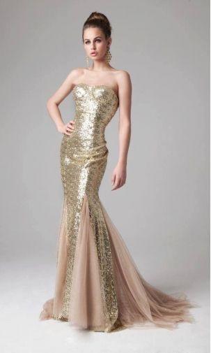 Jovani Gold Sequin Dress with Fishtail - Women&-39-s Fashion ...