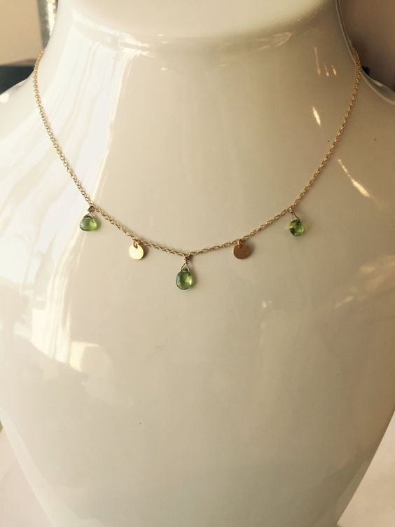 Peridot Necklace Gold Necklace Charm Necklace by BabyLovesBlue