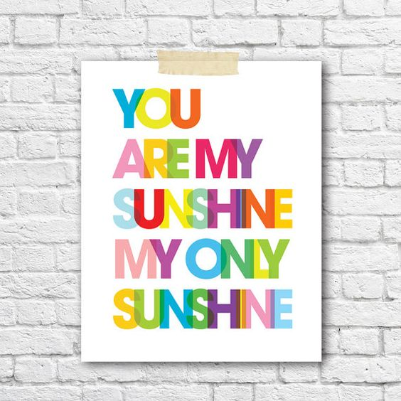 you are my sunshine print bright rainbow nursery decor kids room wall art boys girl nursery - Kid Prints