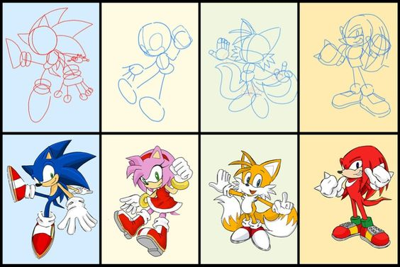 how to draw sonic characters step by step easy
