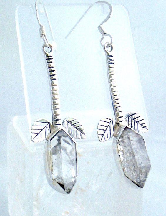 Splendid Leafy HERKIMER DIAMOND genuine gemstone Sterling Silver Long and Dangling Styling Earrings Jewellery!! by Ameogem on Etsy