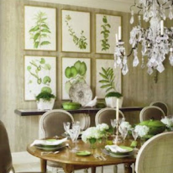 Love this sage green dining area. Chandeliers in every room?  Yes please!  :)