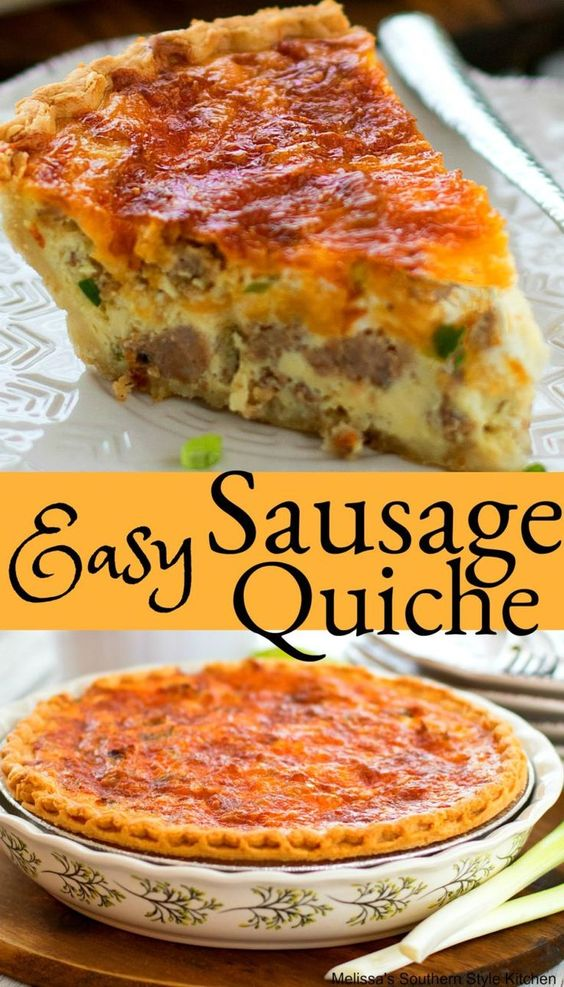 Easy Sausage Quiche #sausagequiche #quicherecipes #brunch #breakfast #holdays #holidaybaking #easter #christmas #entertaining #food #recipes #sausage