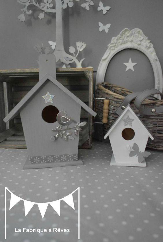 d coration chambre enfant b b nichoir oiseau maisonnette toiles gris blanc argent 6 chambre. Black Bedroom Furniture Sets. Home Design Ideas