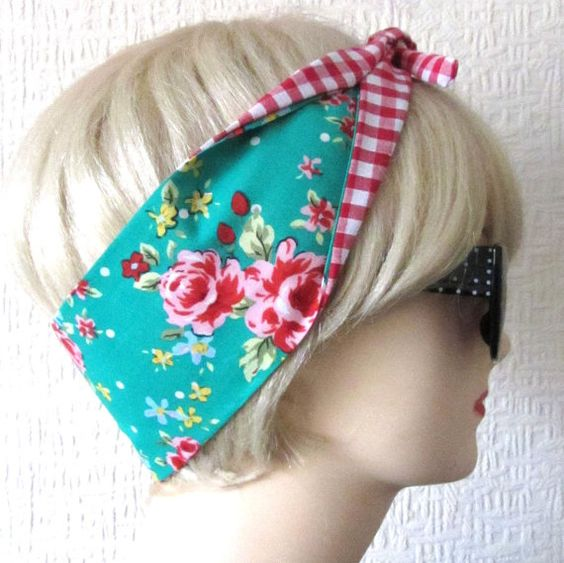 Shabby Chic Tea Roses in TEAL and Gingham Fabric Hair by DollyCool, £5.71
