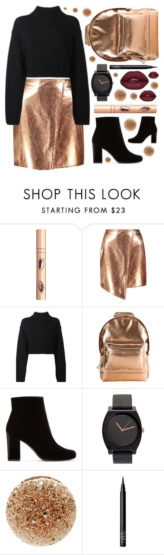 """⚫️black boots⚫️"" by sanela-enter ❤ liked on Polyvore featuring Boohoo, DKNY, Mi-Pac, Yves Saint Laurent, JINsoon and NARS Cosmetics"