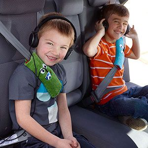 Turn fleece into fun Seatbelt Snuggies -- there's even a space for earbuds and media players!