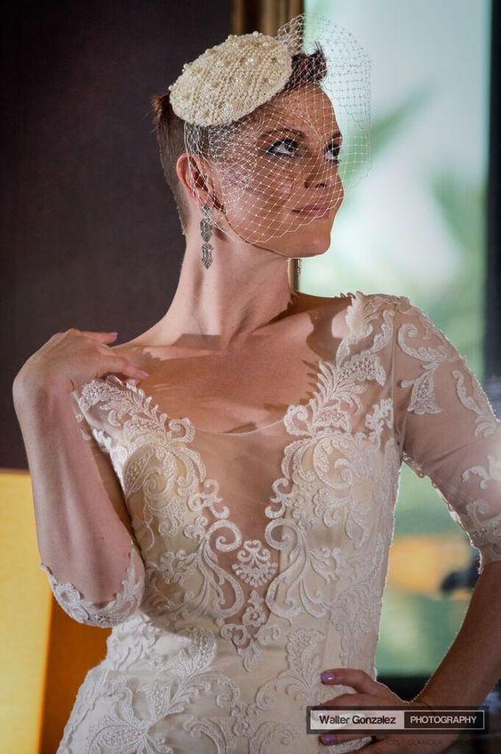 Bridal Fascinator - Valentina in Anglaise White