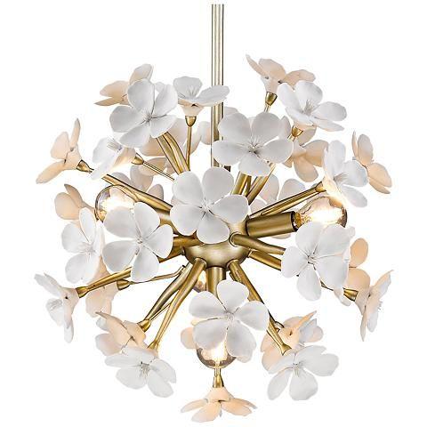 Posy 15 1 2 W White Gold Small Porcelain Flower Pendant Golden Lighting Porcelain Flowers Round Pendant Light