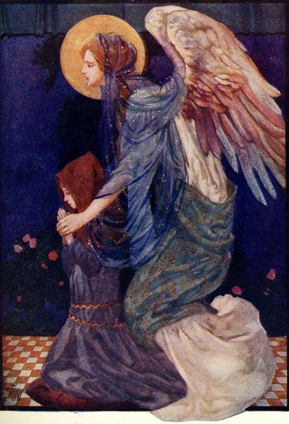 """sherripage: """" The Guardian Angel by William Russell Flint https://en.wikipedia.org/wiki/William_Russell_Flint """""""